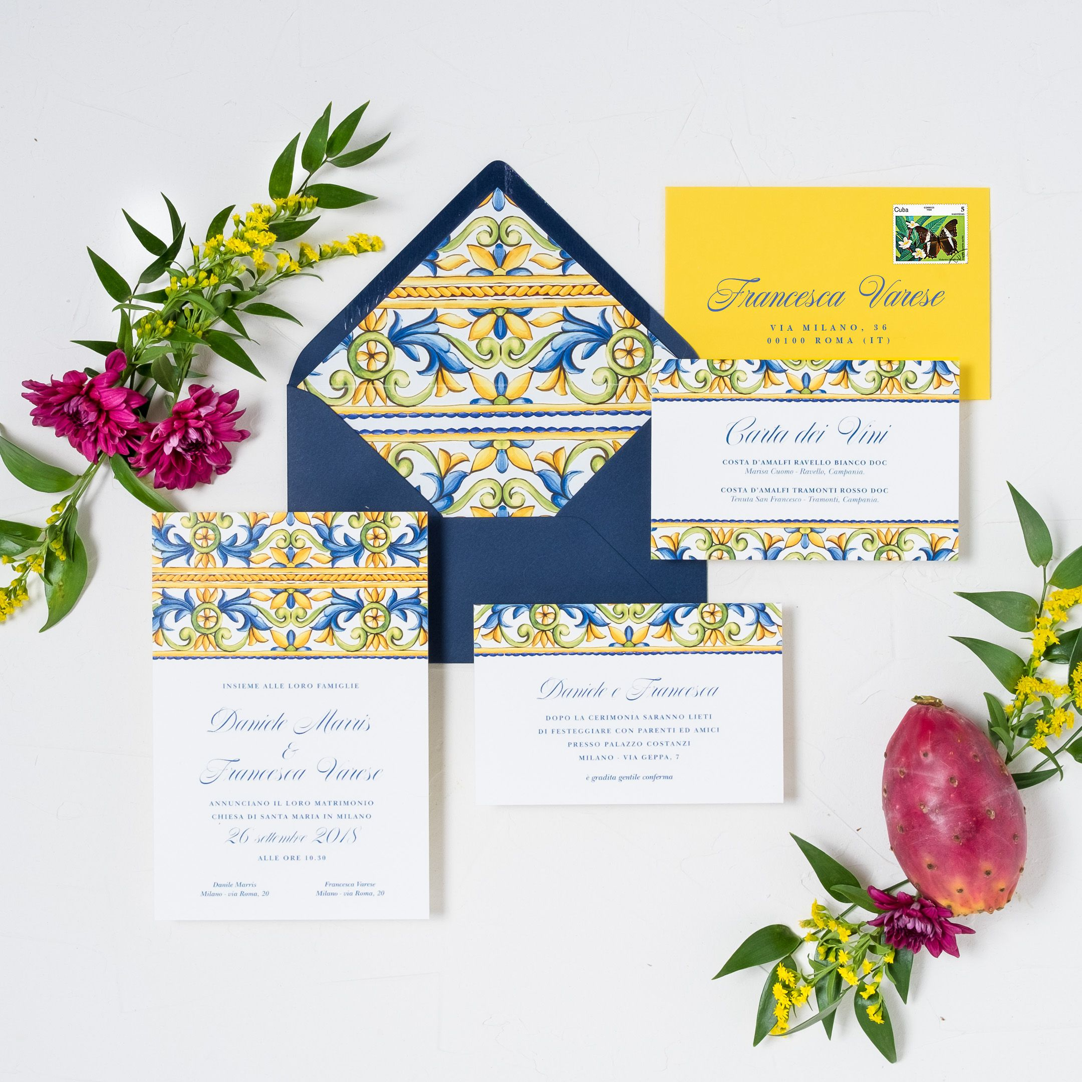 Partecipazioni Matrimonio Maiolica Carta Amalfi Wedding Invitations Majolica Amalfi Paper