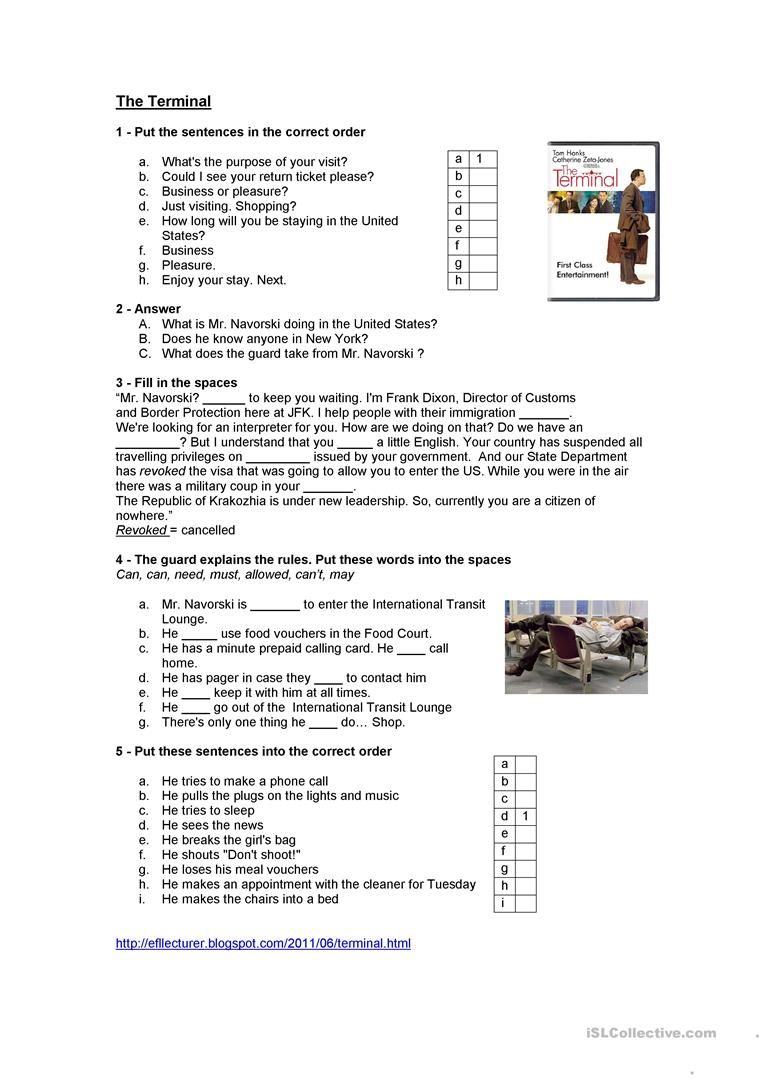 small resolution of The terminal movie - English ESL Worksheets for distance learning and  physical classrooms   Teaching jobs