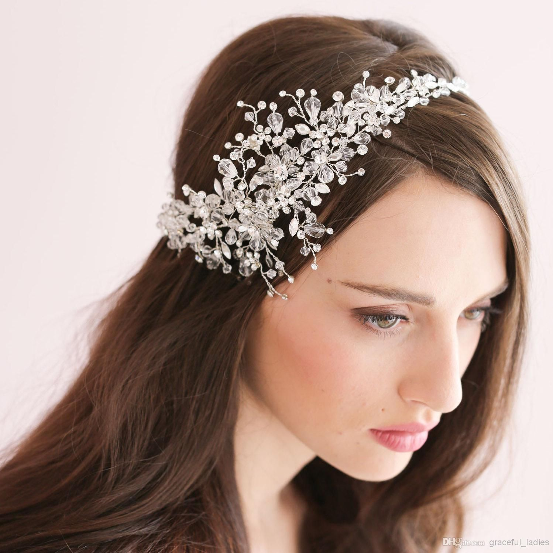 handmade crystal ice bridal sparking headpiece beaded wedding