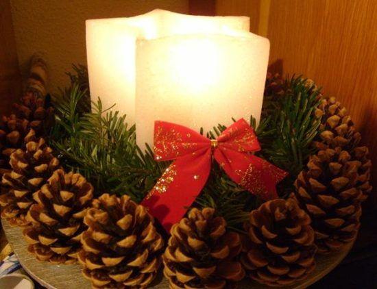 182 Centros de mesa navideños con frascos, latas, piñas, velas