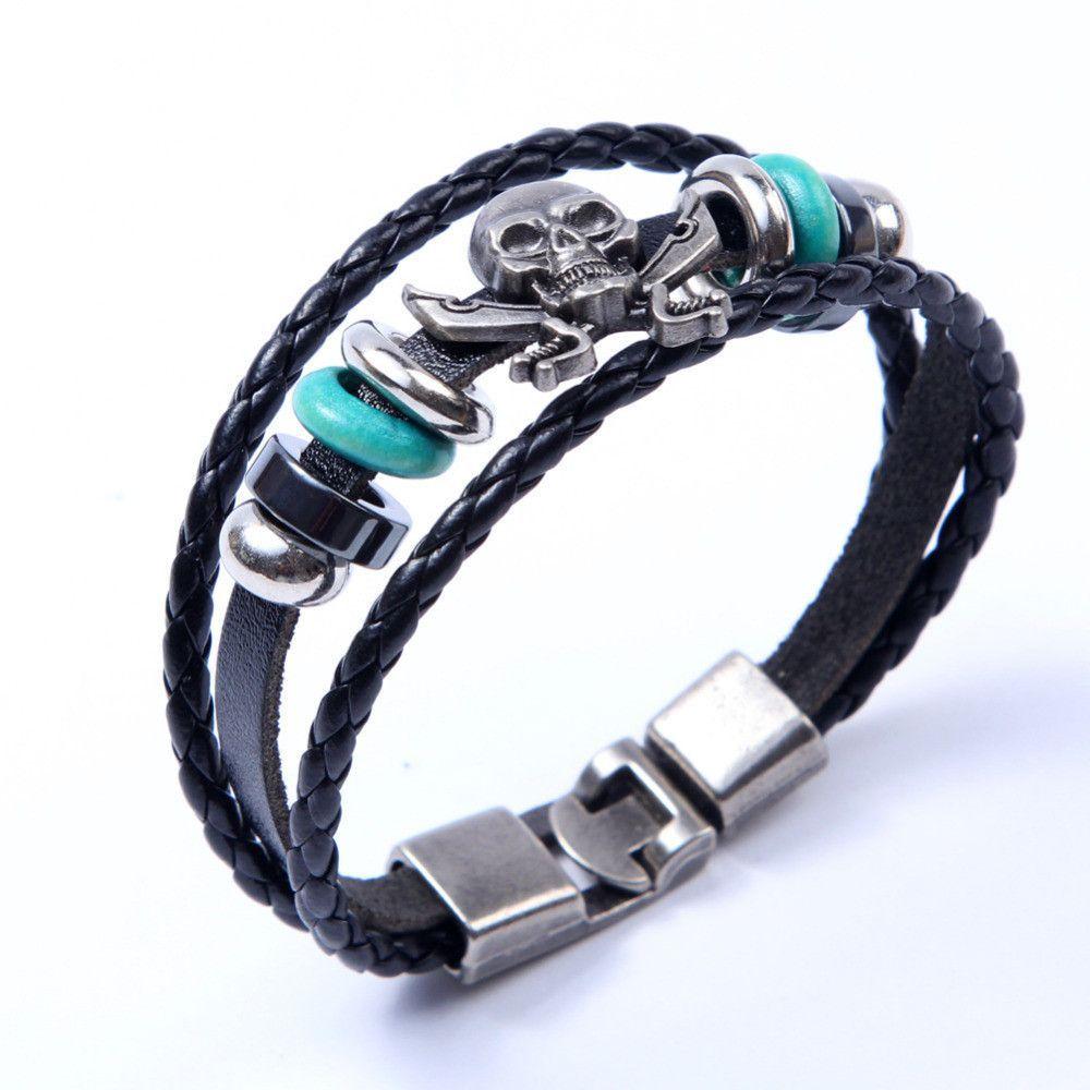 Europe punk hand made braided charm bracelet bangles skull wristband