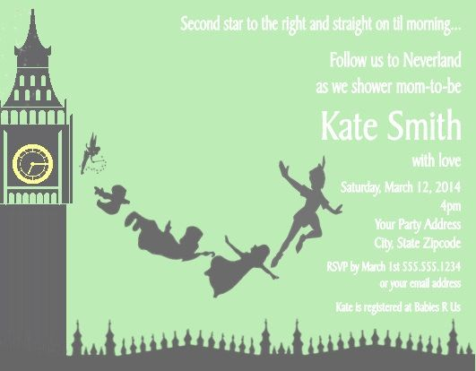 Peter pan baby shower or birthday party invitations custom for Peter pan invitation template