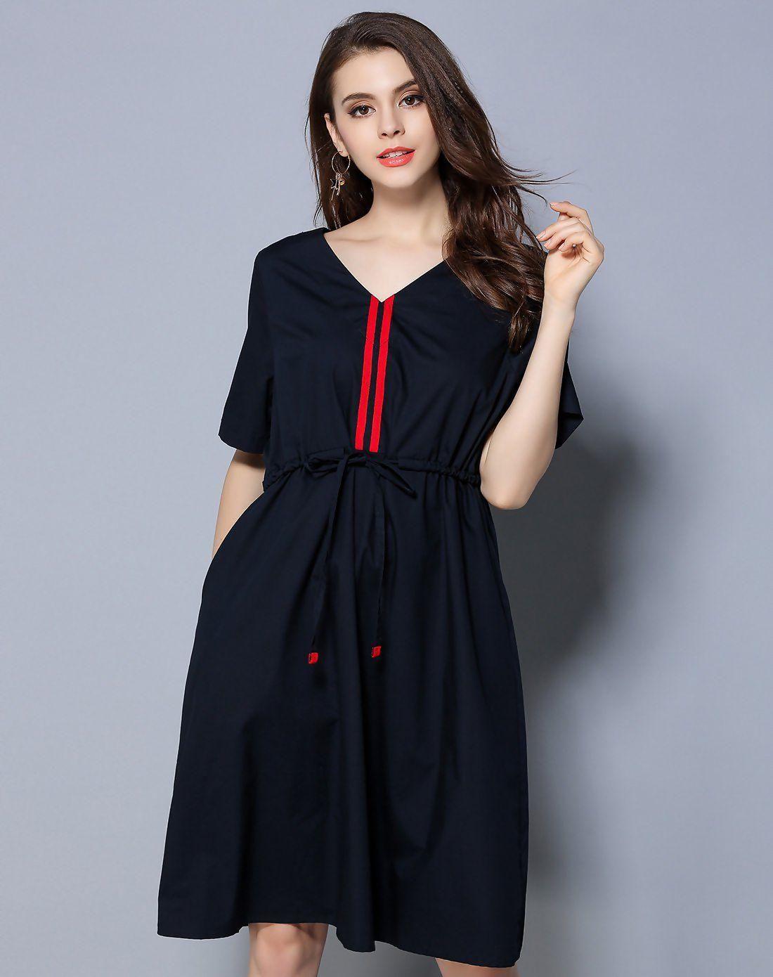 #AdoreWe #VIPshop Womens - LETDIOSTO Cyan School Paneled Cotton Summer  Pleated Plain V-Neck Dress - AdoreWe.com