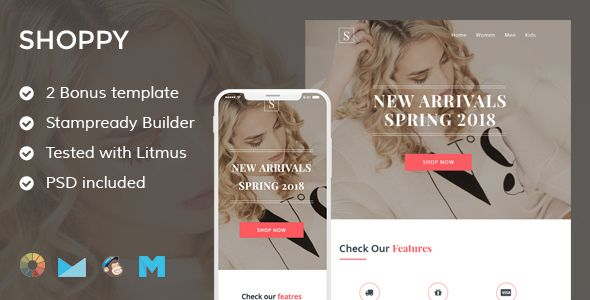 Shoppy 3 Ecommerce Email Template Stampready Builder Mailchimp