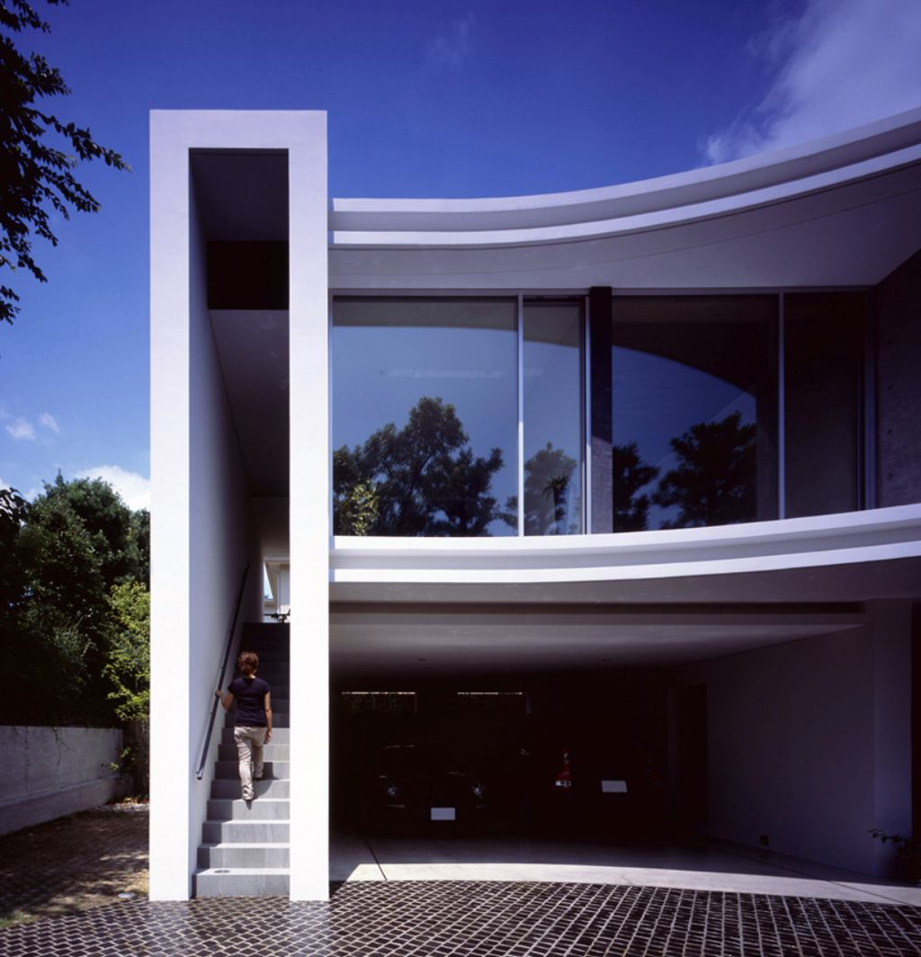 Stylish Design House Big Glass Windows Stock Photo: Magnificent Design Modern Japanese With Awesome House