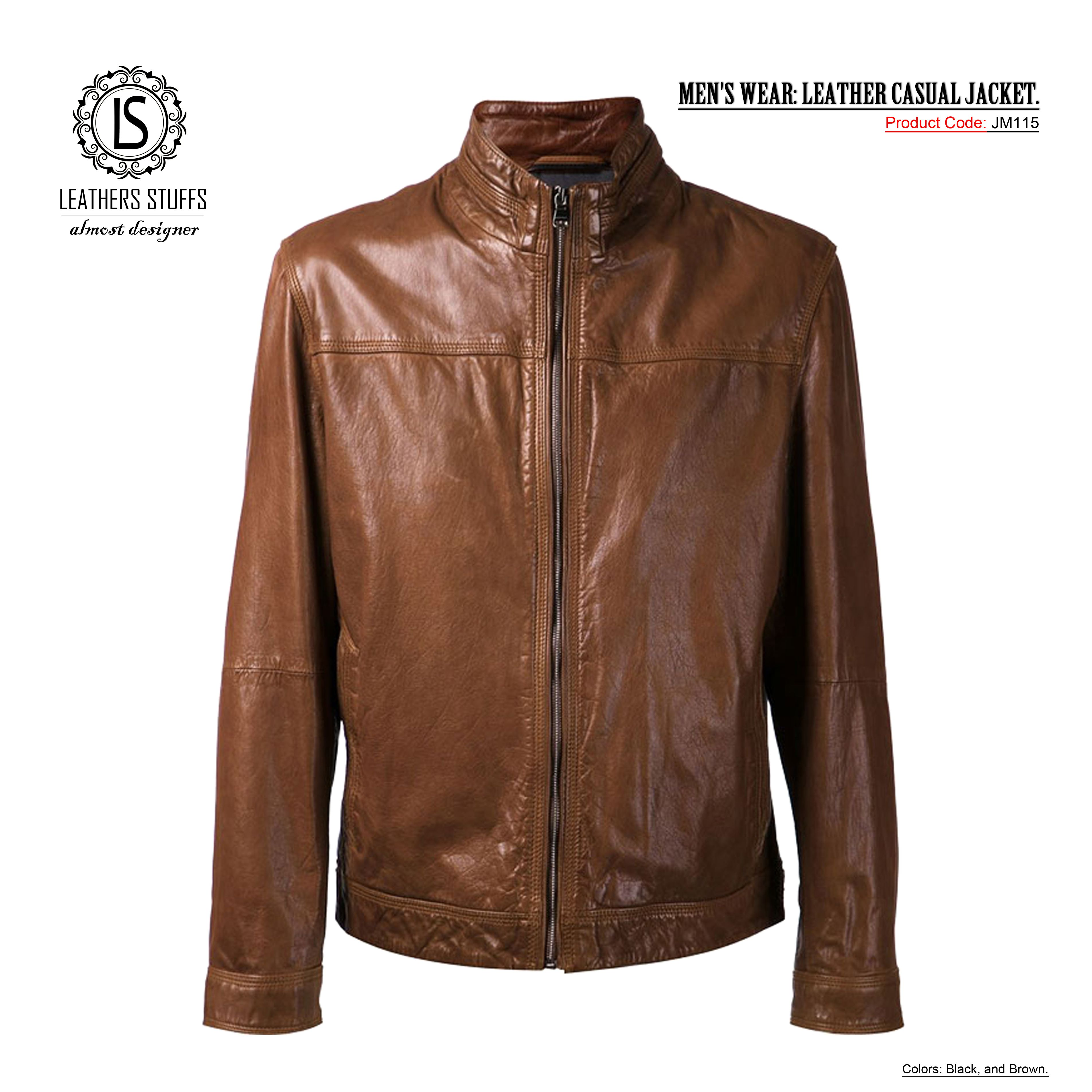 MEN'S WEAR LEATHER CASUAL JACKET. Colors Black and Brown