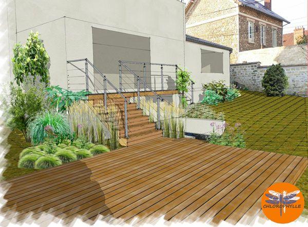 projet terrasse bois et escalier nos dessins de jardin Pinterest