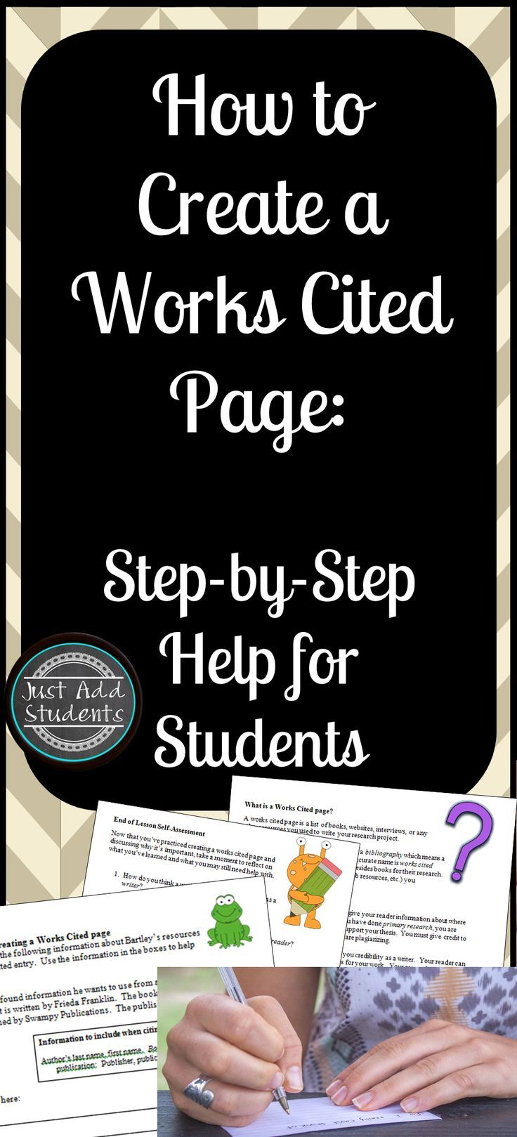 works cited bibliography mla format tpt free lessons pinterest