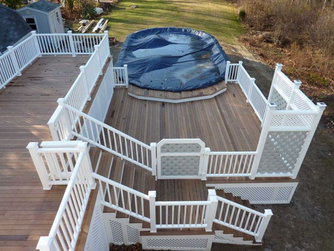 50 Incredible Front Porch With Wooden Ipe Deck Ideas 480 Decoredo Backyard Pool Above Ground Pool Landscaping Above Ground Pool Decks