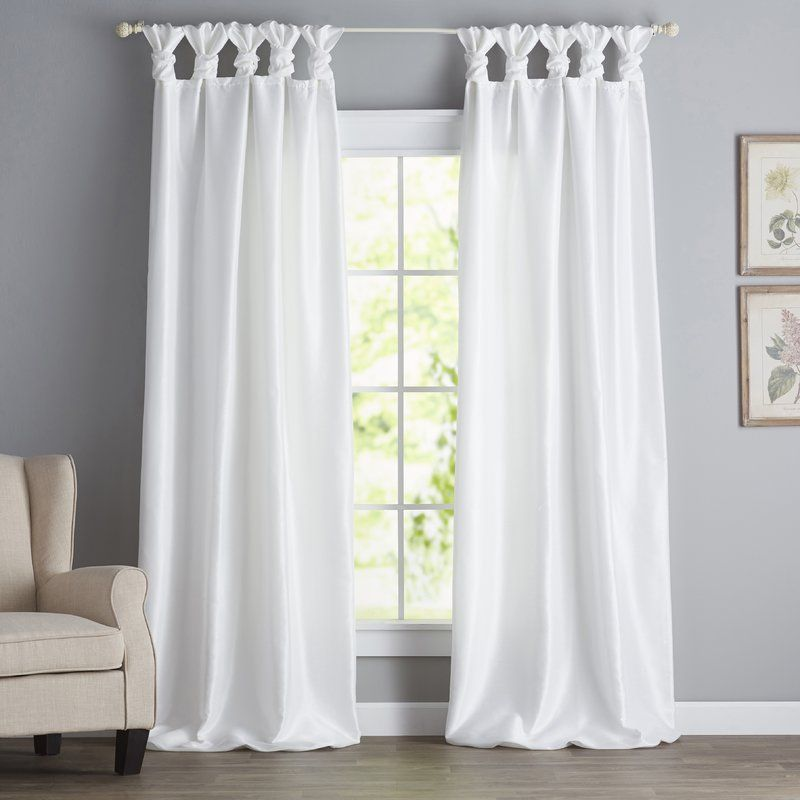 Catelynn Twist Tab Single Curtain Panel White Curtains Living