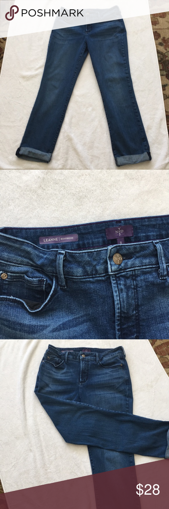 NYDJ LEANNE boyfriend 8 Jeans 5 pocket cuffed bluejeans in good condition. Soft, comfortable with Lift, Tuck Technology, measured lying flat~ Approx. 27 1/2 inseam, 15waist, 6 1/2 leg opening.  All items sold from My Closet are one person owned who tragically passed on. OK, so I'm not great at pics, but ALL clothes were well maintained and loved. You will not be disappointed with any quality issues. I do not know any of the original prices so I'm entering 0, but I know she had expensive taste #expensivetaste
