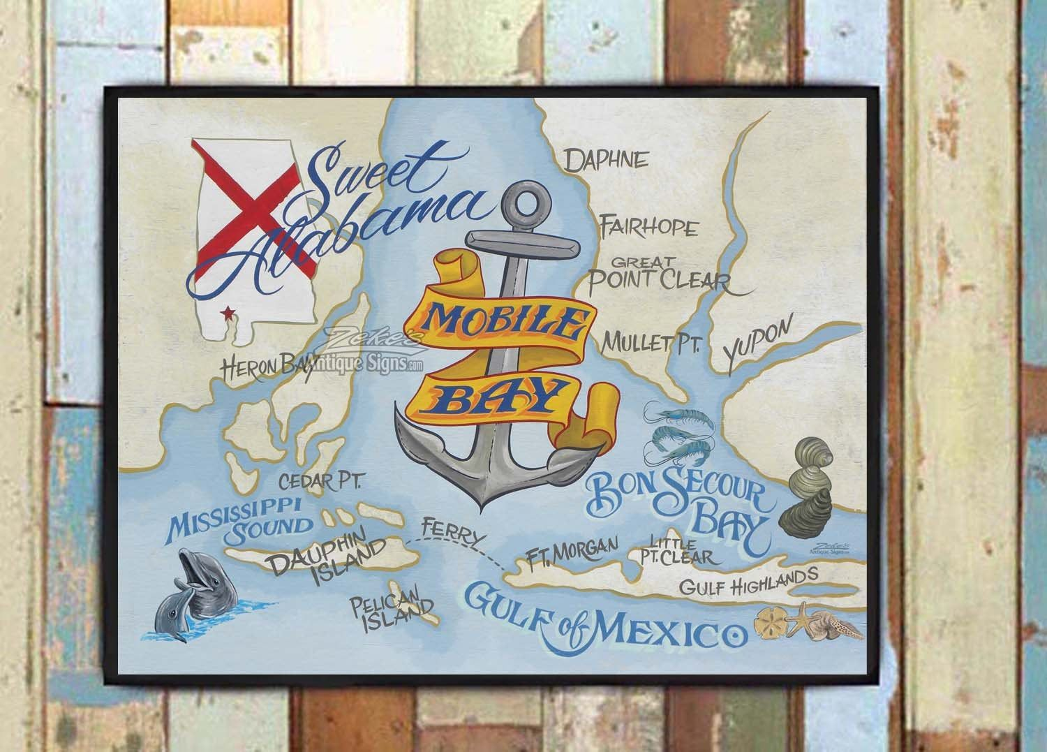 Mobile bay alabama map print great beach house or
