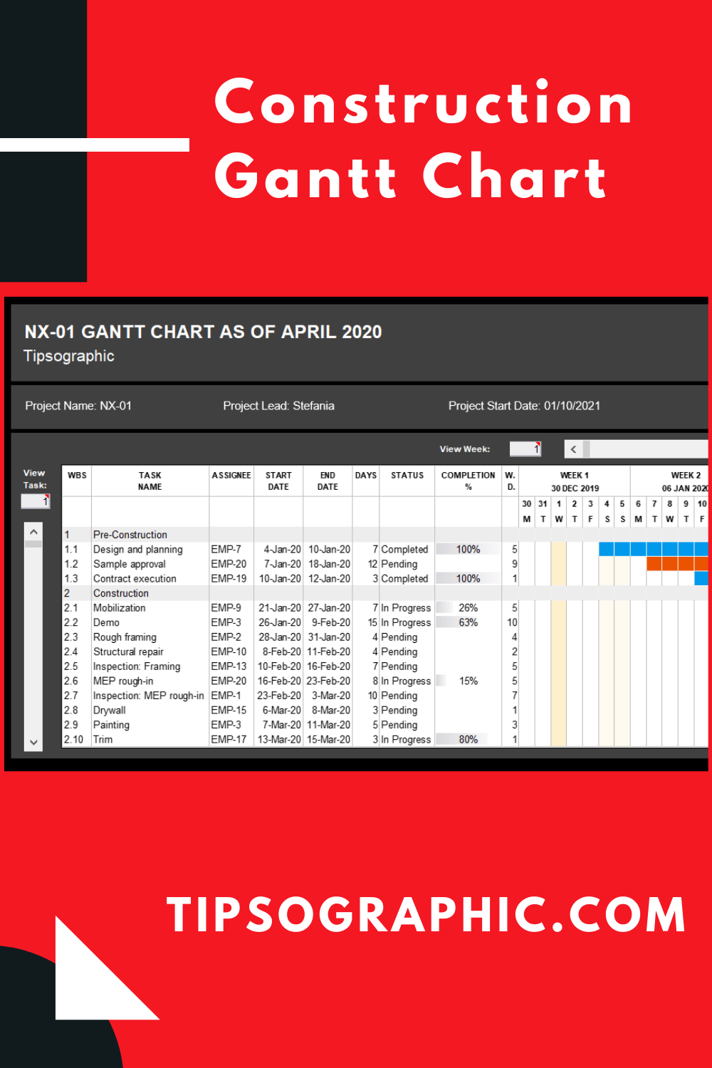 Construction Gantt Chart Template for Excel, Free Download