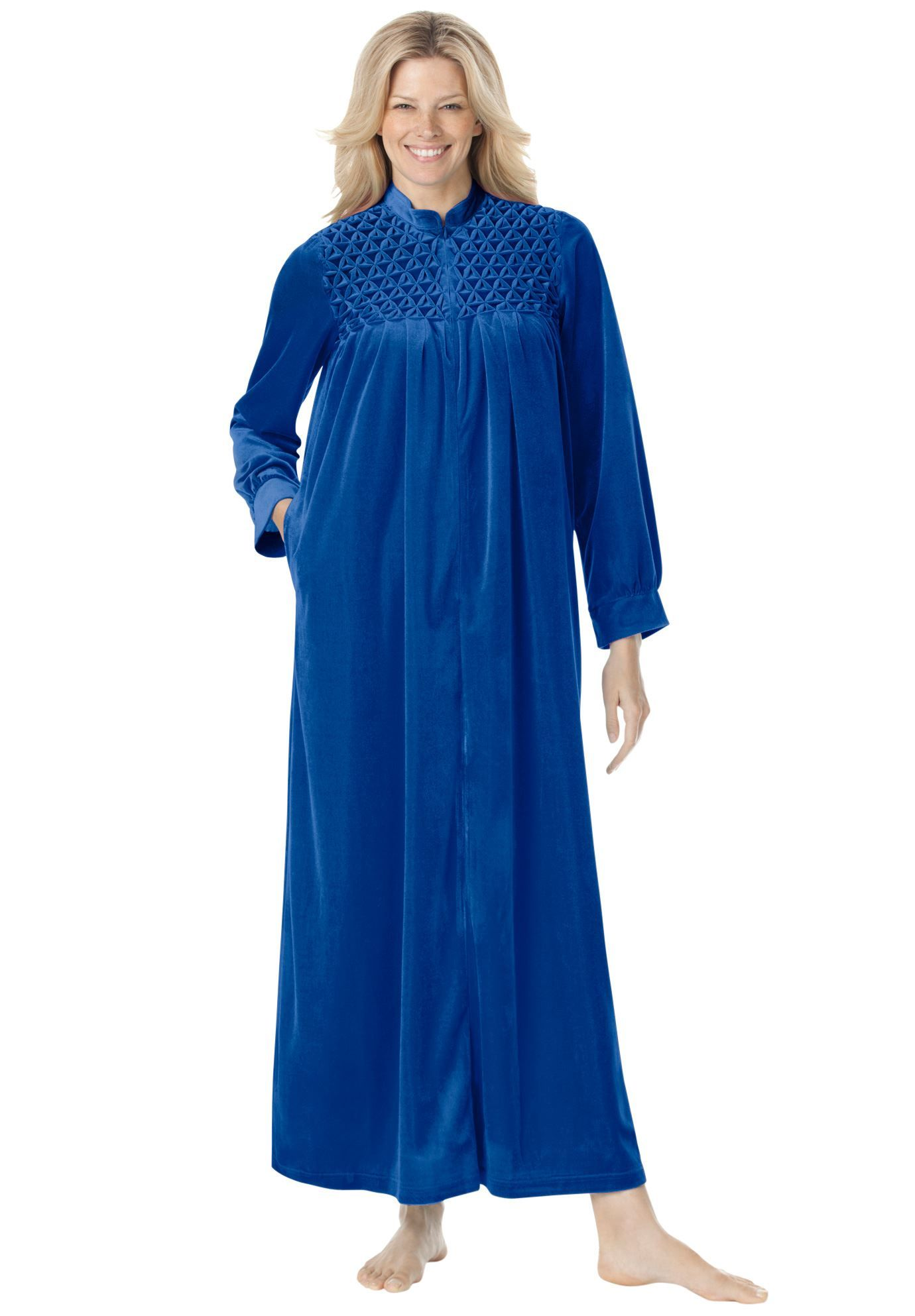 Smocked Velour Long Robe By Only Necessities
