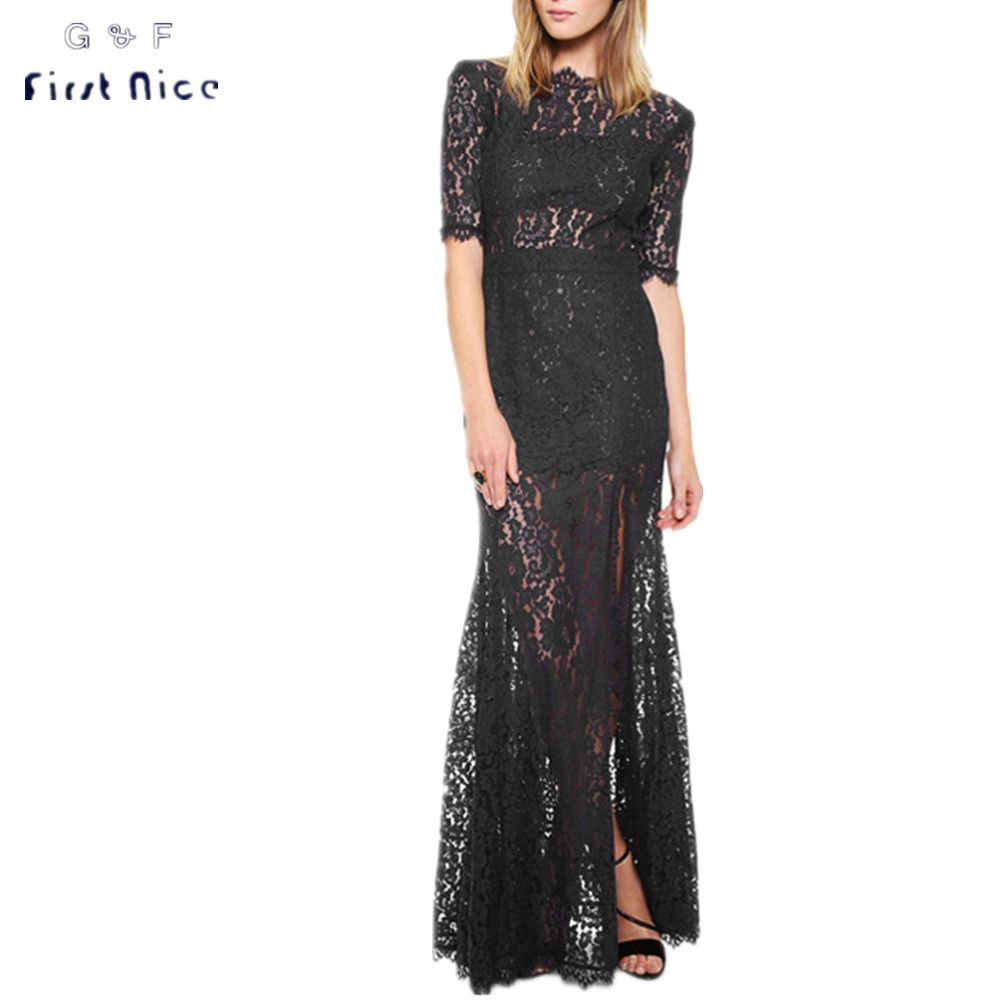 Women long lace dresses spring new fashion short sleeve black