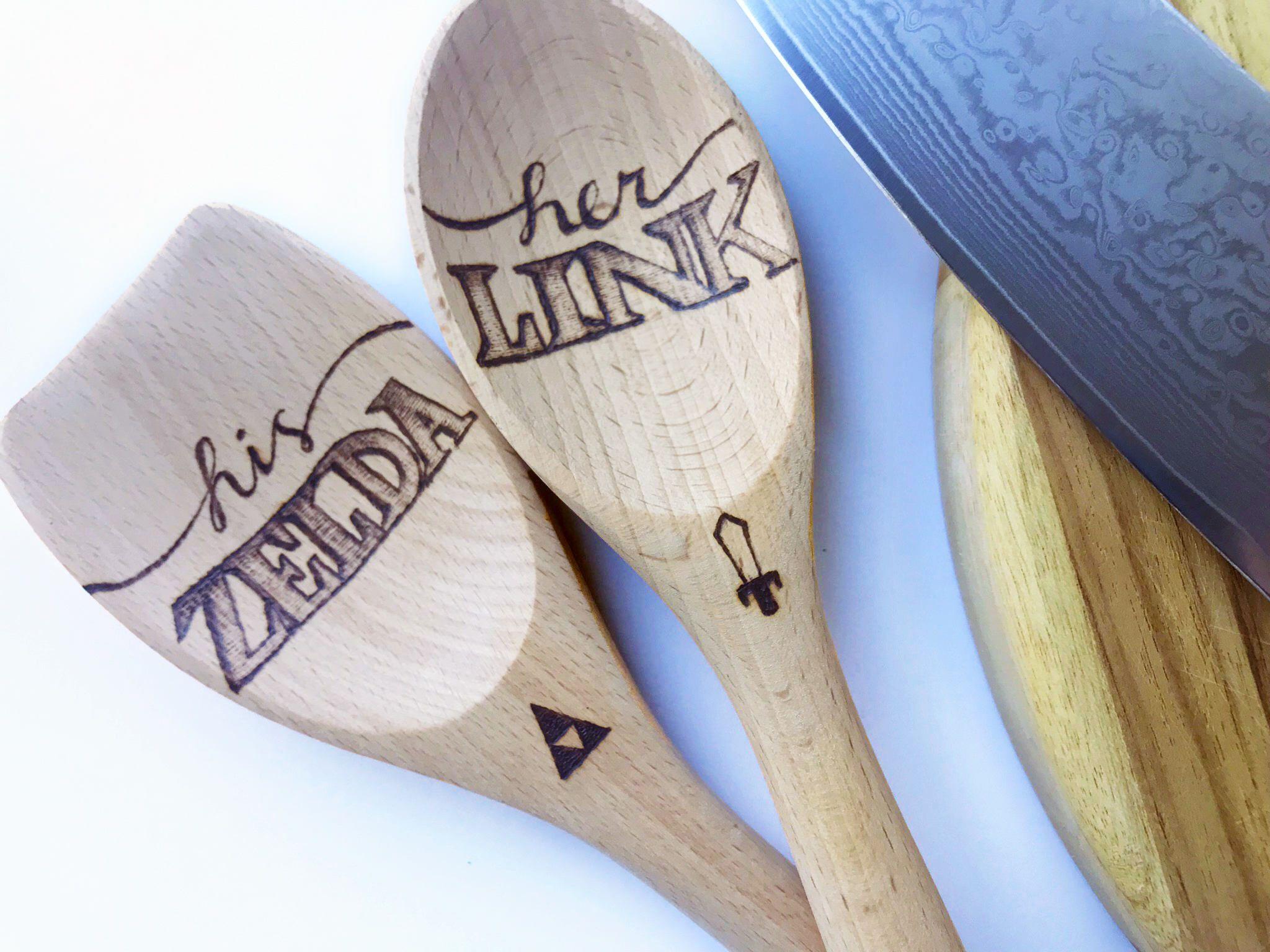 Legend Of Zelda Themed His Link Her Zelda Wood Burned Wooden Spoon