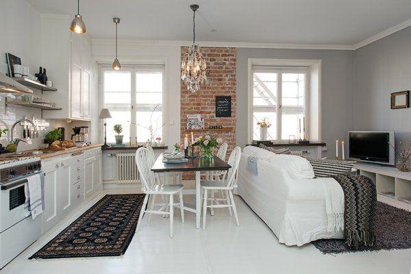 Kleine wohnküche ideen hilfreiche Hinweise Pinterest - offene wohnkuche mit wohnzimmer