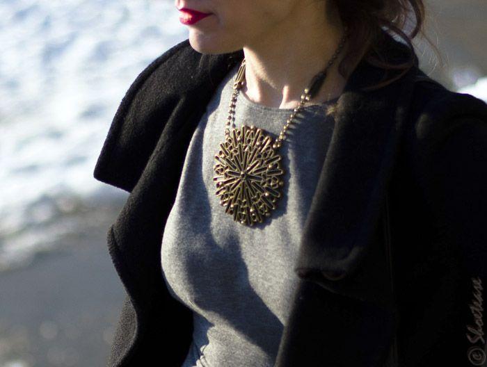 Toronto Street Style Fashion - Skater Dress, Banana Republic Sun Metal Necklace, Black Coat