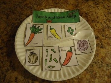 Jacob and esau soup craft on paper plate instead of for Jacob and esau crafts