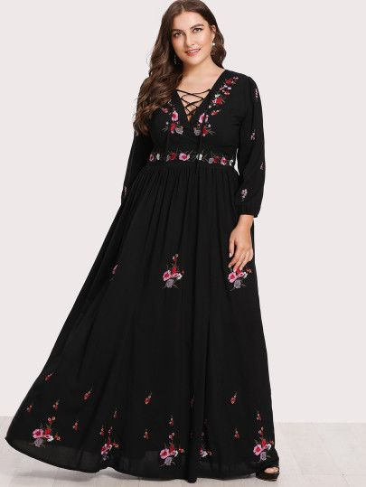 5119bc010d SHEIN Lace Up Front Flower Embroidered Maxi Dress dresses,cocktail dresses,  party dresses, summer dresses,womens clothes,shein,ladies dresses,outfits,sexy  ...
