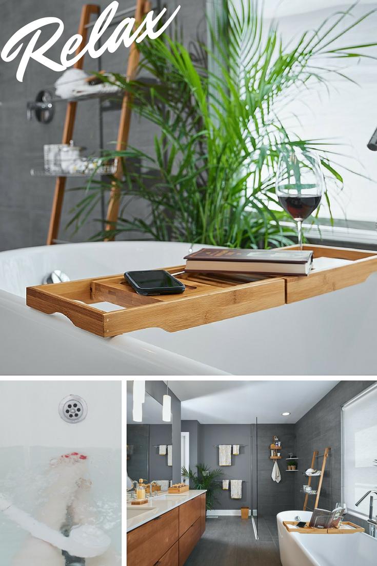 Take the bath of your dreams with a Bamboo Bathtub Caddy. | Bath ...