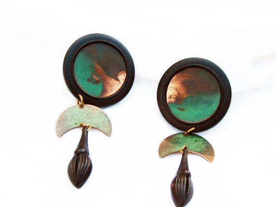Vintage Copper Earrings Signed Clips Made From Reclaimed Etsy Vintage Copper Copper Earrings Copper