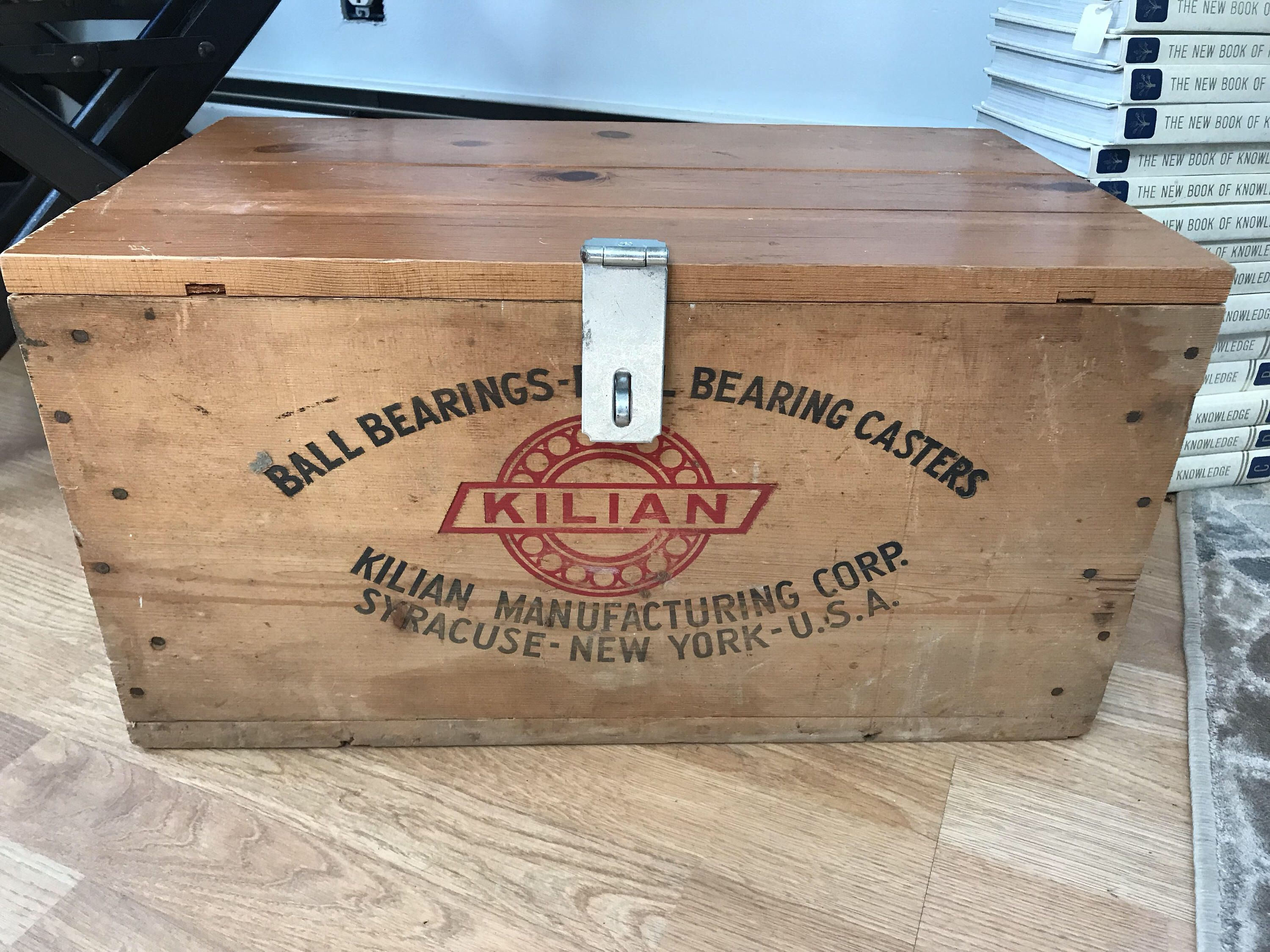 Vintage Kilian Ball Bearings Ball Bearing Casters Lidded Latch Lock Wood