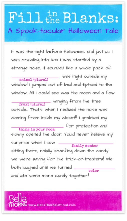halloween mad libs bella thorne style cute thing to print out for a halloween - Cute Things To Print Out