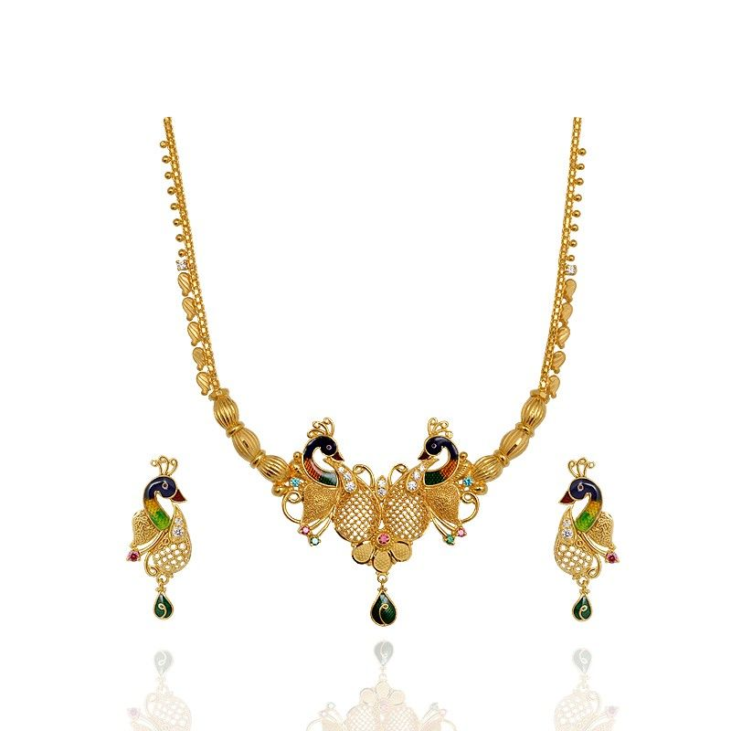 Enamel Peacock 22Kt Gold Necklace jewels Pinterest Gold