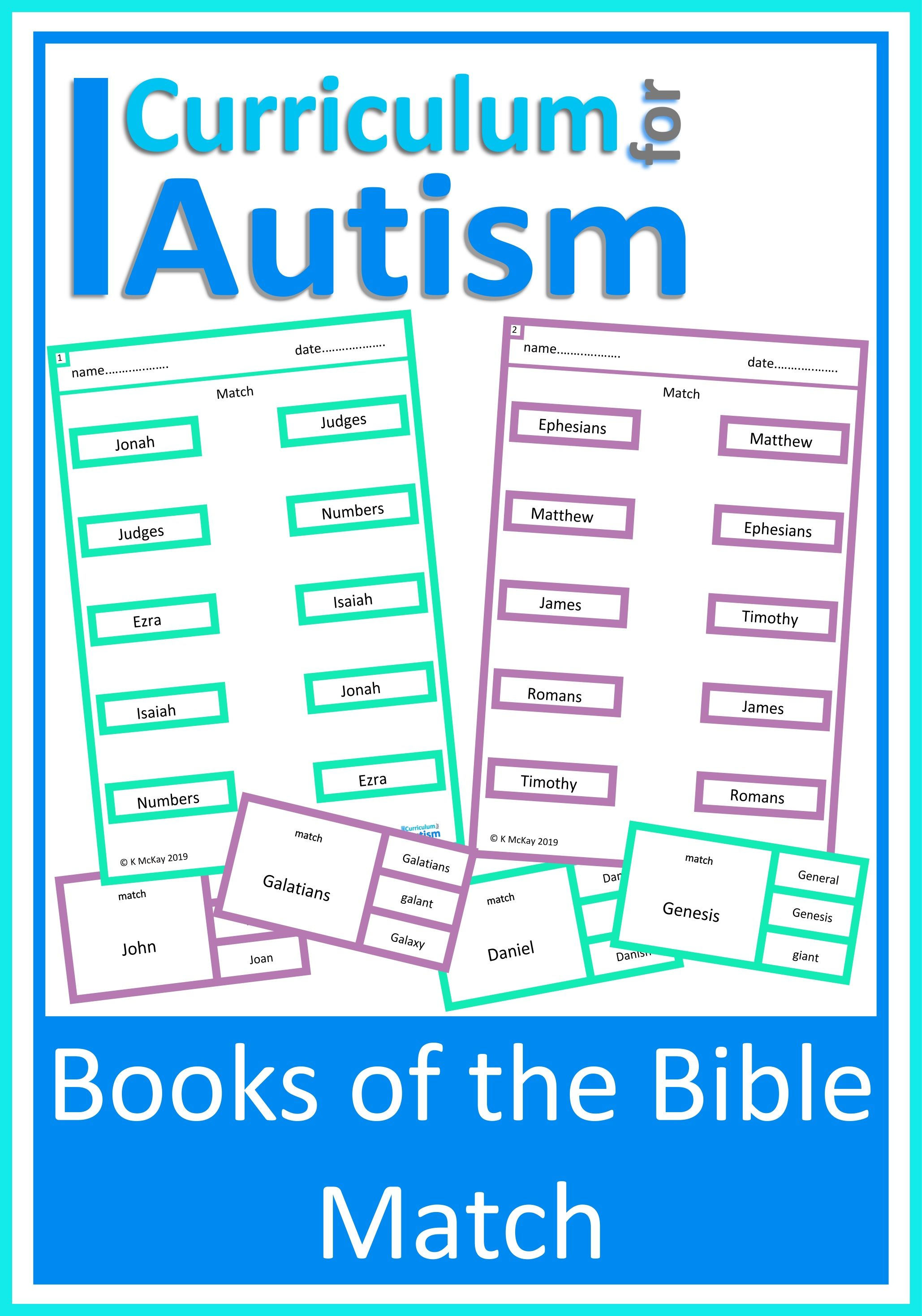 Books Of The Bible Read Amp Match Cards And Worksheets