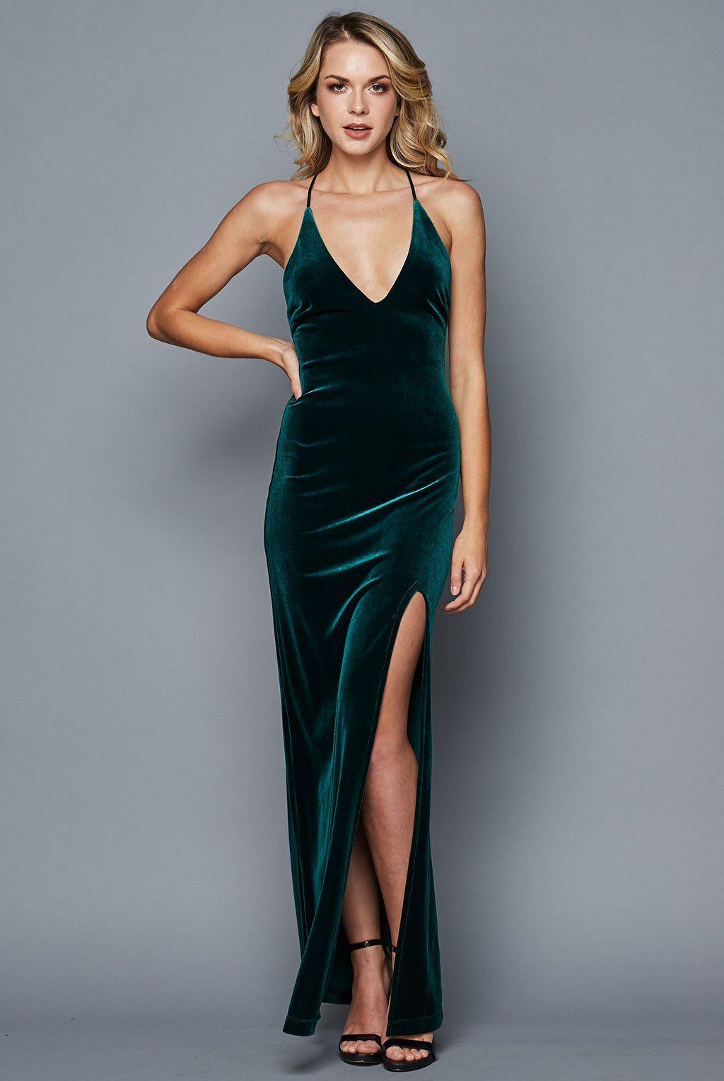 1214789434 Deep V Neck Velvet Long Dress