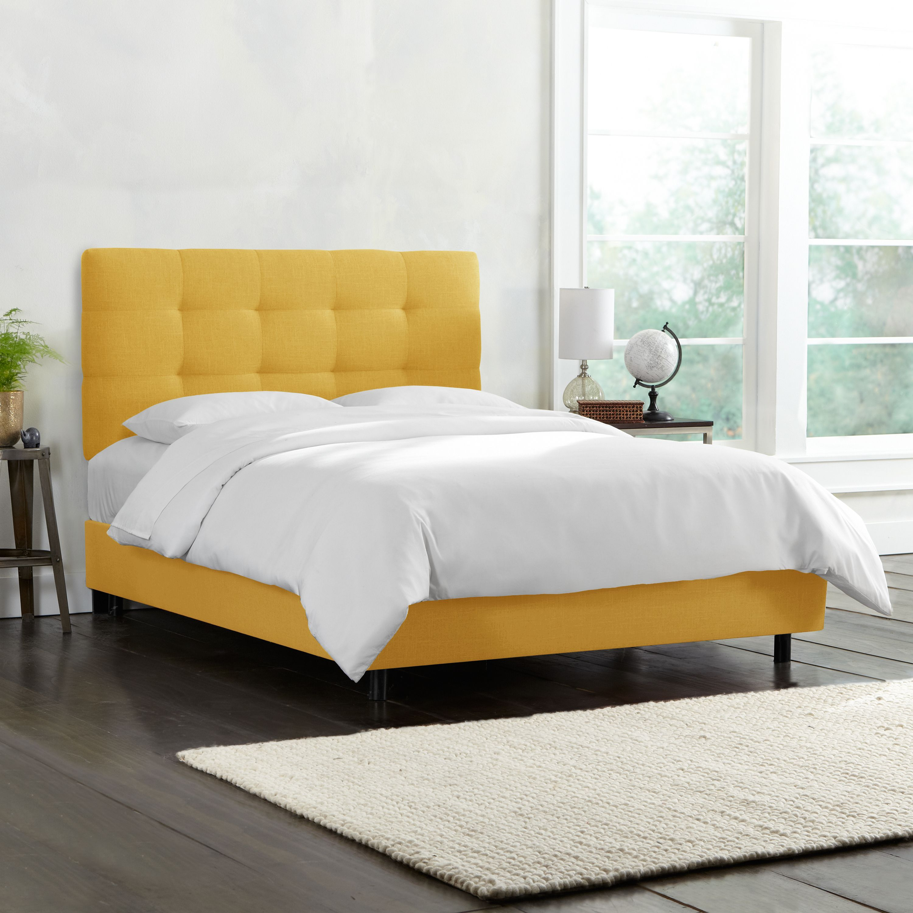 Skyline Furniture Tufted Bed in Linen French Yellow (Queen - Queen)