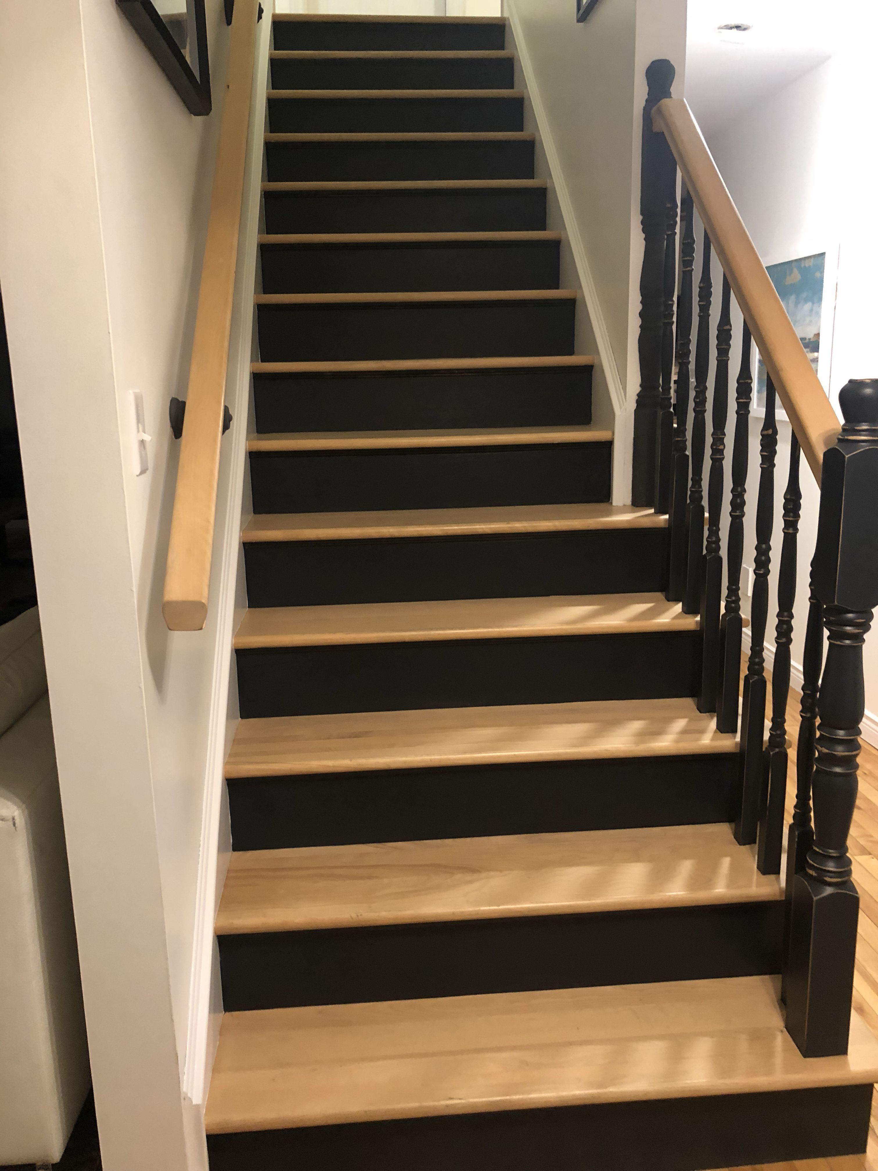 I Painted My Maple Stairs With Rustoleum Chalk Paint In Charcoal
