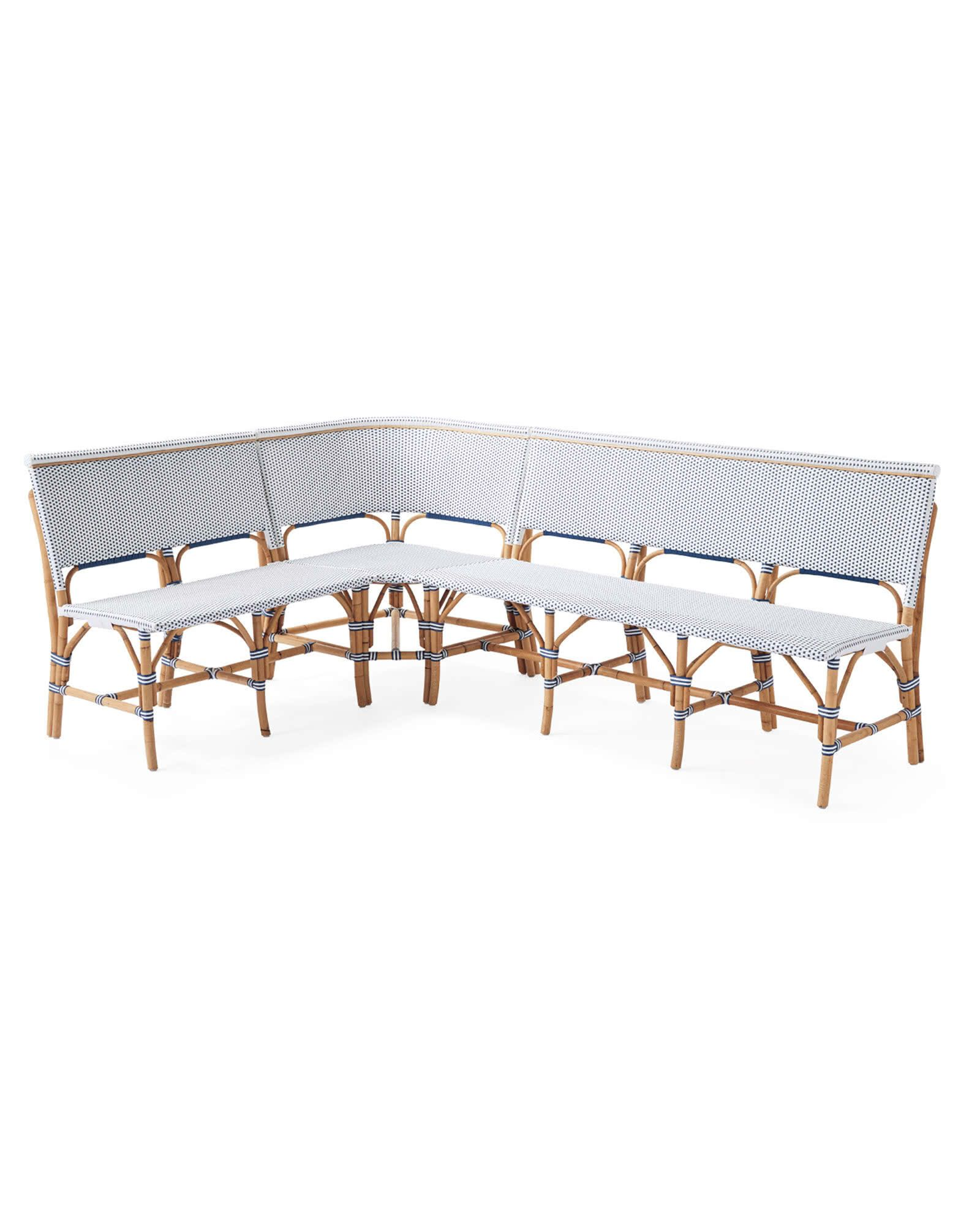 Riviera Banquette L Shaped Navy Bistro Style Hand Bent Rattan Home Decor Furniture Serena Lily Similar To St Germain Resin In 2020 Banquette Seating In Kitchen Bistro Chairs French Bistro