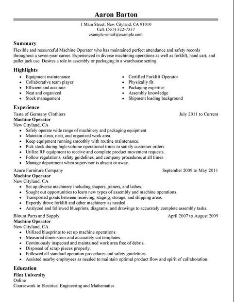 Free Resume Templates For Machine Operator  Simple Resume