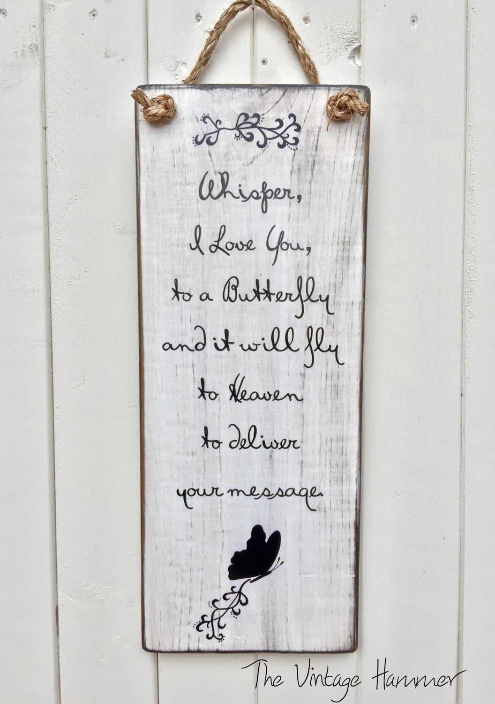 Butterfly Memorial Sign, memorial, heaven, solid wood