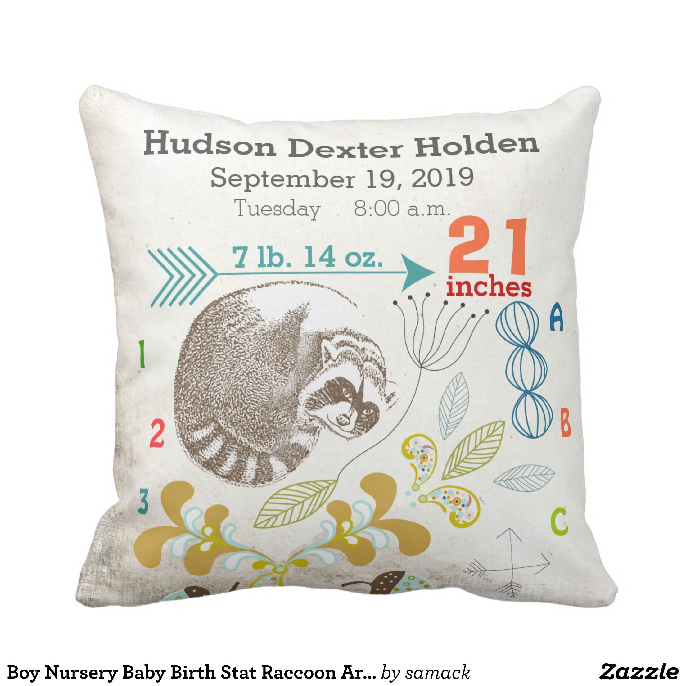 Boy Nursery Baby Birth Stat Raccoon Arrow Pattern Pillow