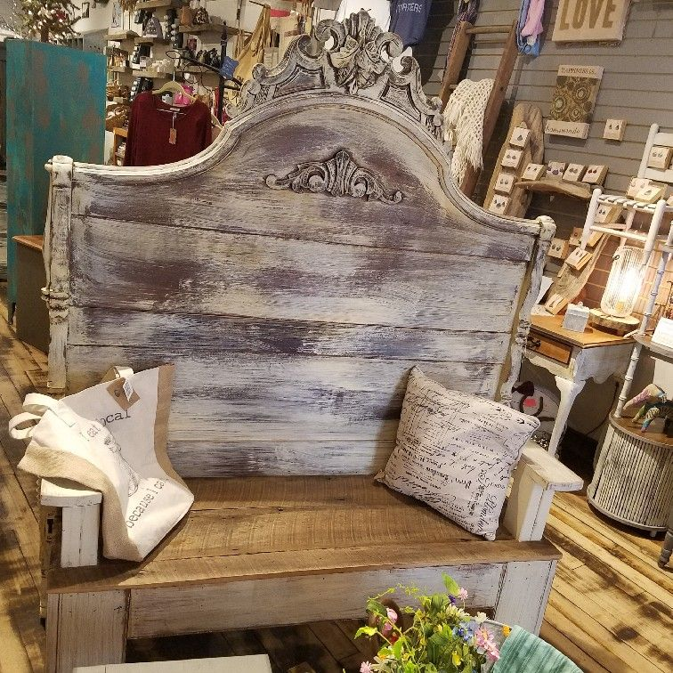 Upcycled Bench From An Antique High Back Bed With A
