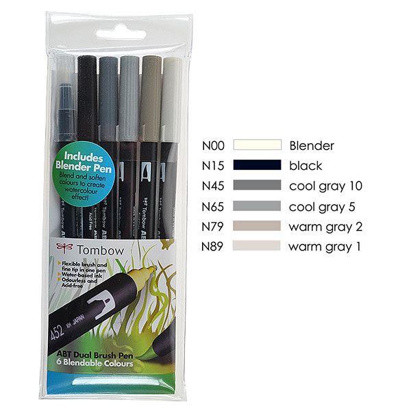 TOMBOW ABT Dual Brush Pen Set Set of 6 Blendable Grey Colours