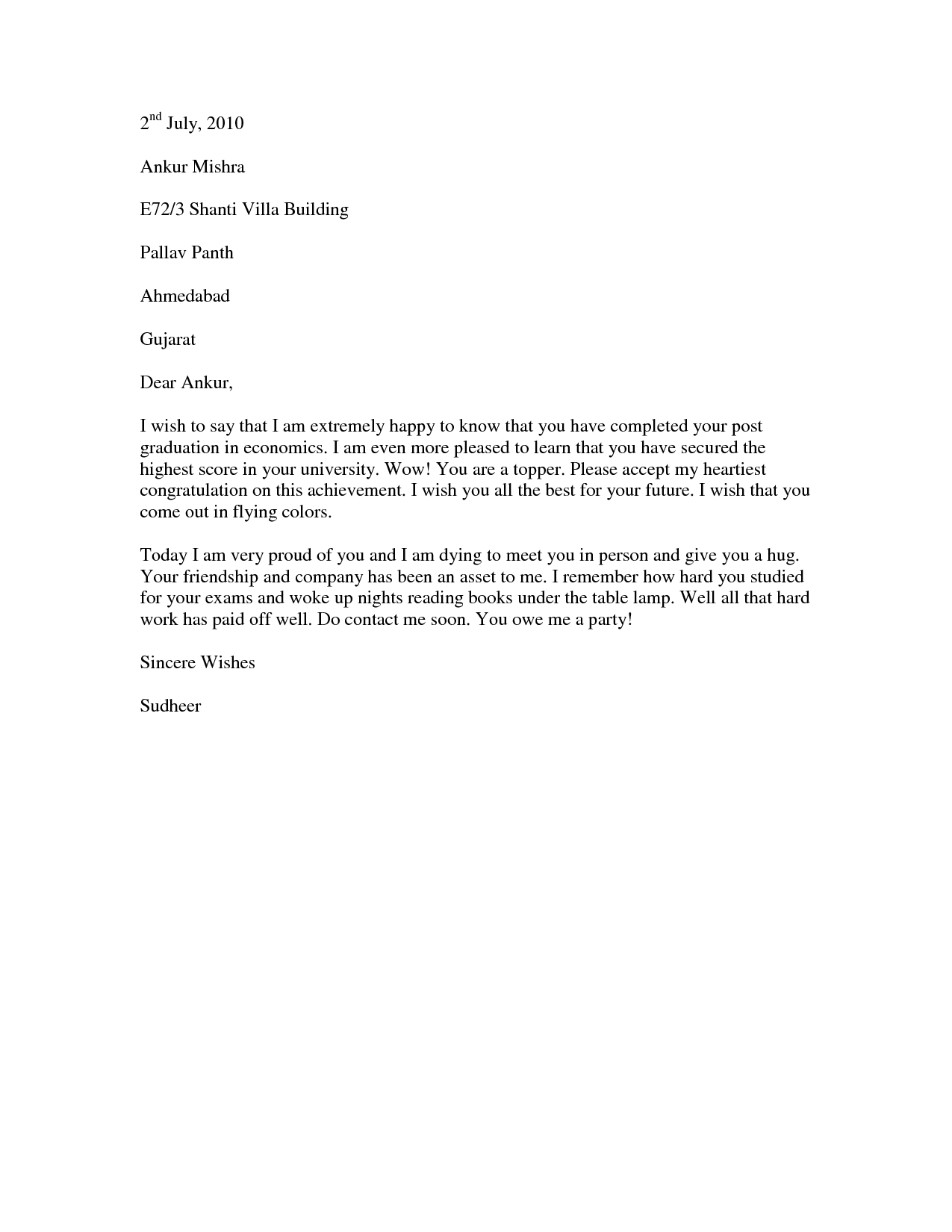 promotion congratulations letter example of a congratulations graduation congratulations letter example of a congratulations letter to send to a college graduate who