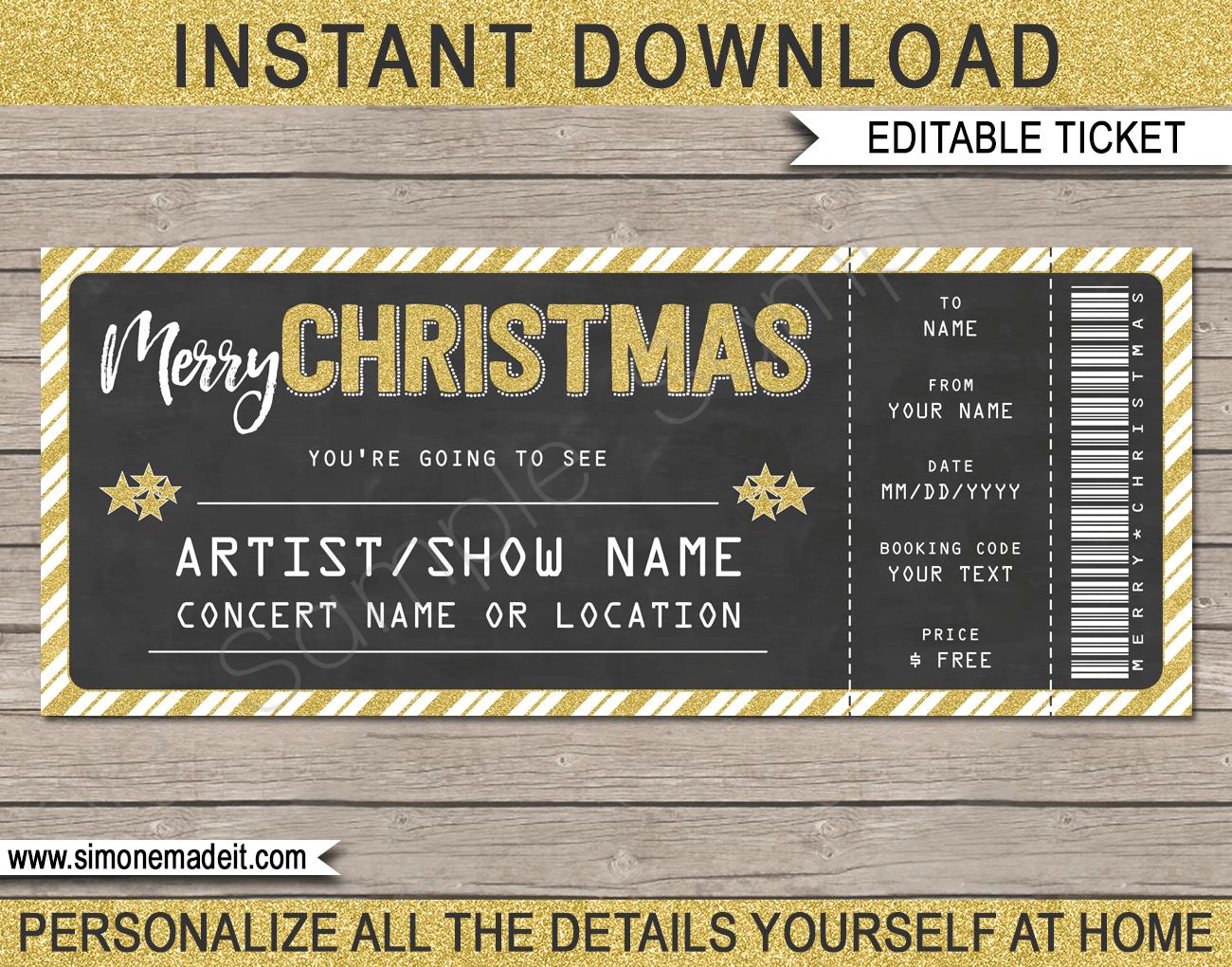 Printable Christmas Gift Concert Ticket Template Gift