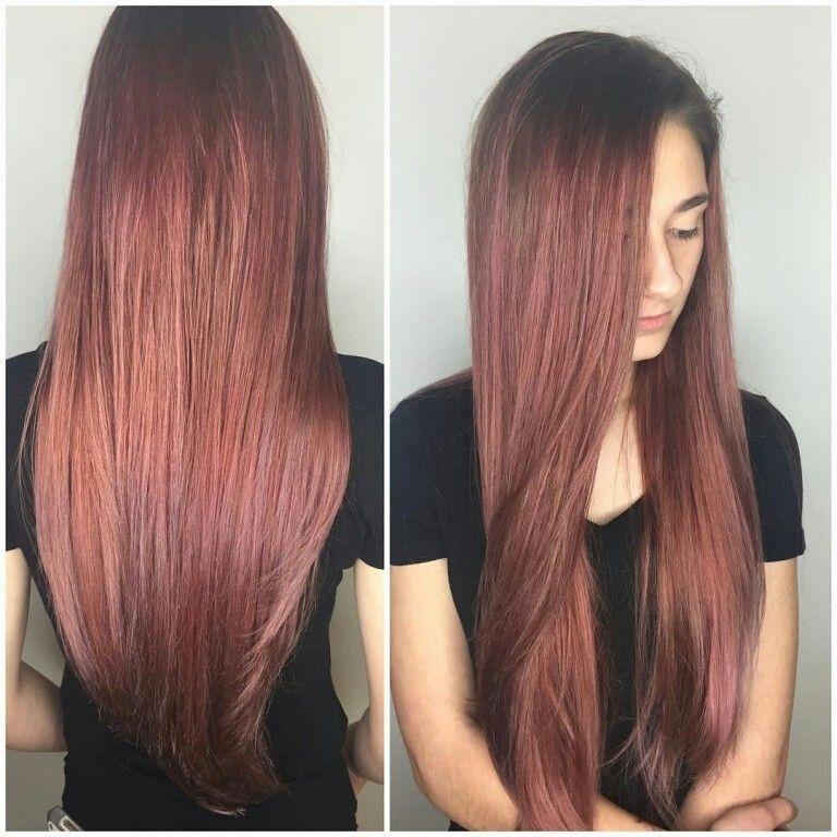 Auburn Rose Gold Hair Color Auburn Stylish Hair Auburn Hair Balayage