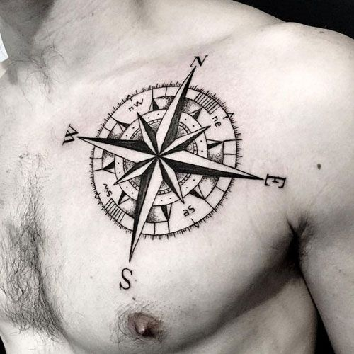 Simple Black Compass Tattoo - Best Compass Tattoos For Men: Cool Compass Tattoo Designs and Ideas For Guys #tattoos #tattoosforguys #tattoosformen #tattooideas #tattoodesigns