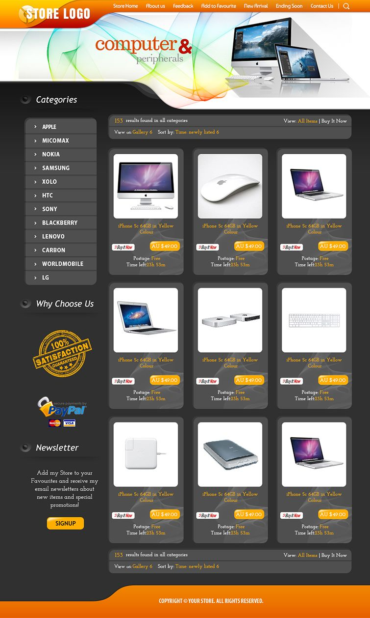 Shop Design and Listing Auction HTML Templates- Free Setup, Same ...