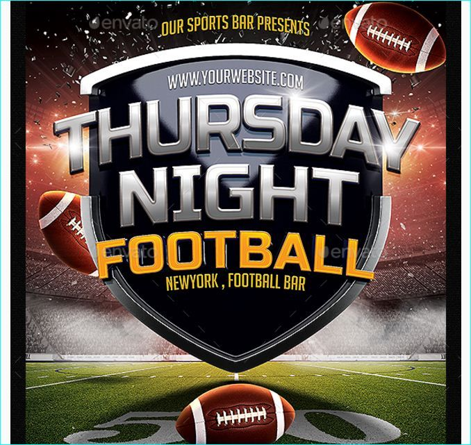 Thursday Night Football Flyer - Party Flyer Templates For Clubs - football flyer template