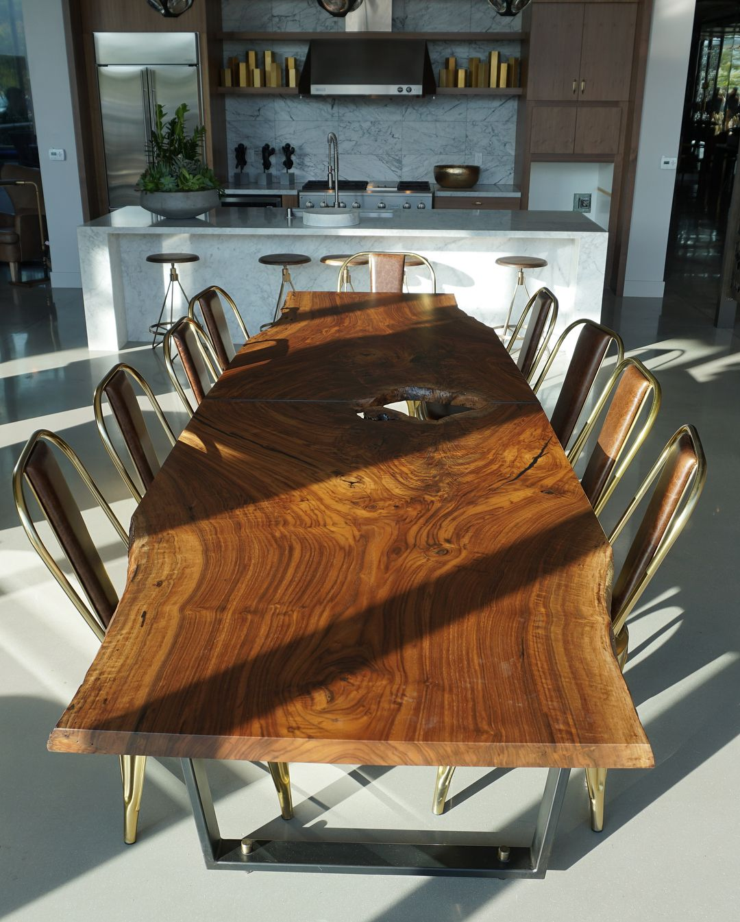 Live Edge Claro Walnut Dining Table For Alxliving Downtown San Diego