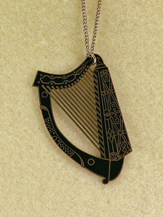 Old celtic harp necklace with black background black backgrounds old celtic harp necklace with black background audiocablefo