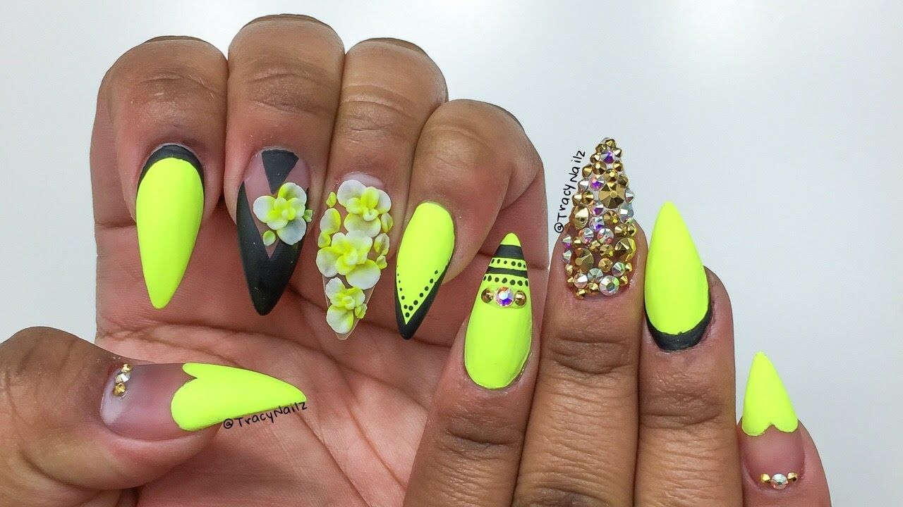 Neon Yellow Black Floral Acrylic Nails