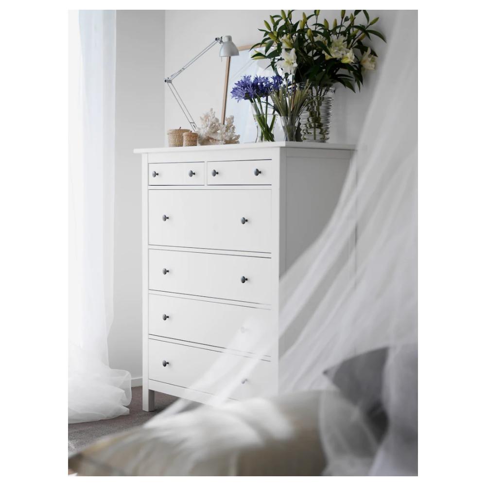 HEMNES Cómoda de 6 cajones, tinte blanco, 108x130 cm IKEA