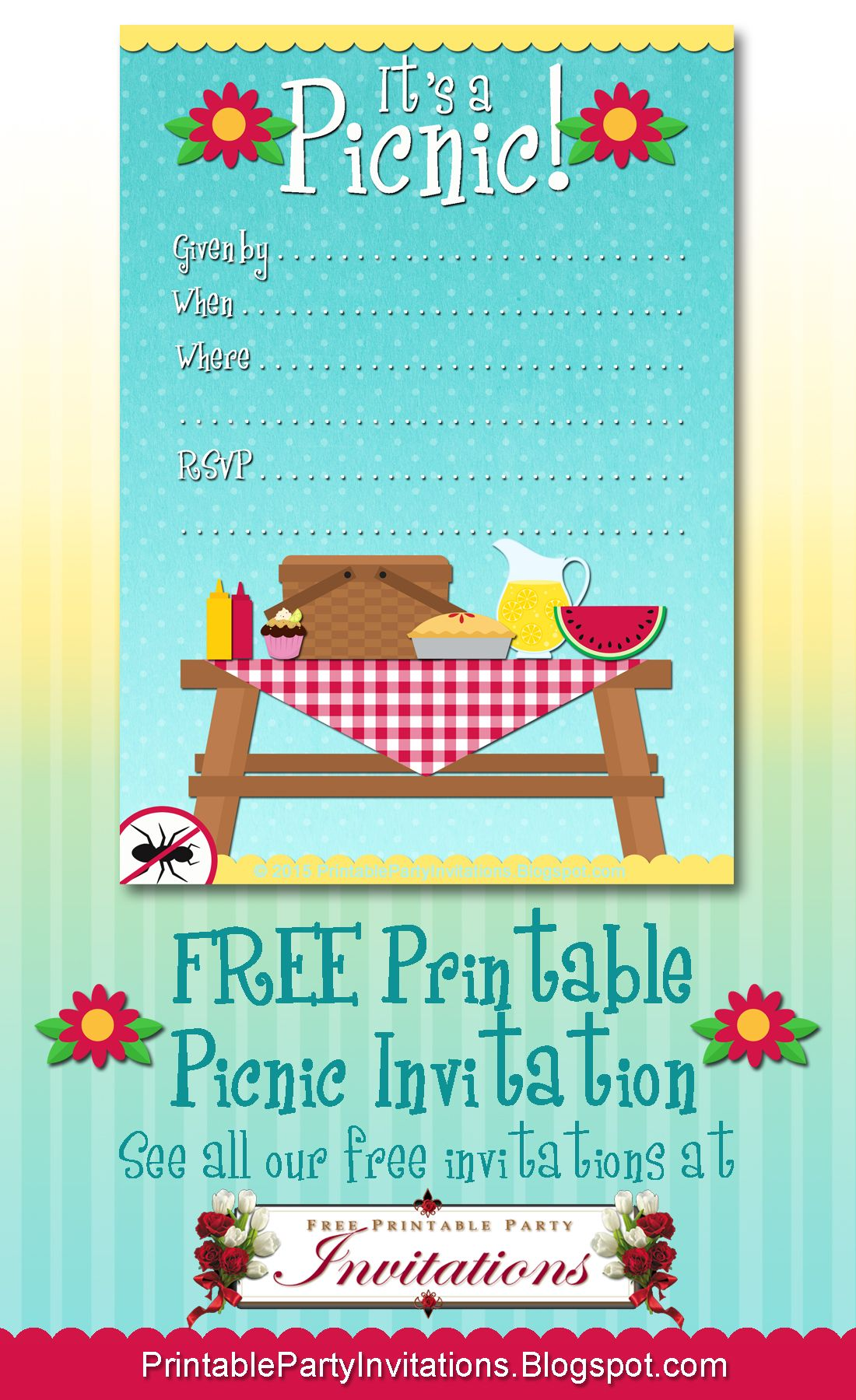 FREE Printable Picnic Invitation | banderines | Pinterest | Geburtstage
